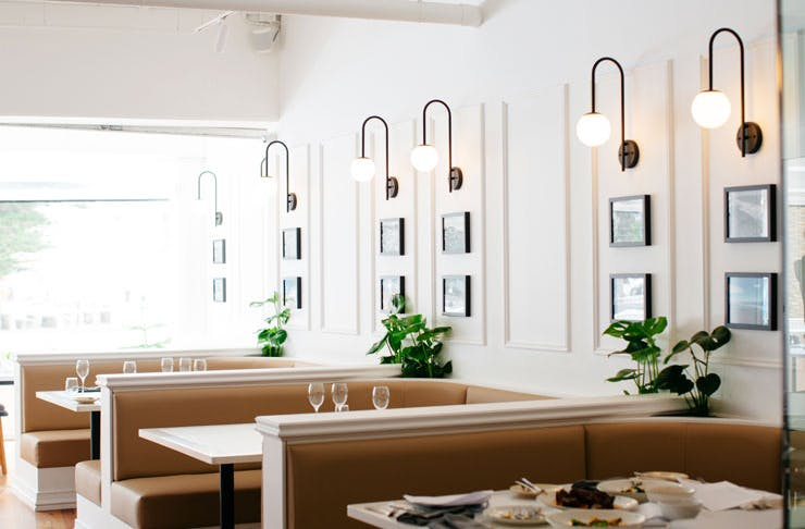 The Hamptons-style dining room at The Pines restaurant in Cronulla.