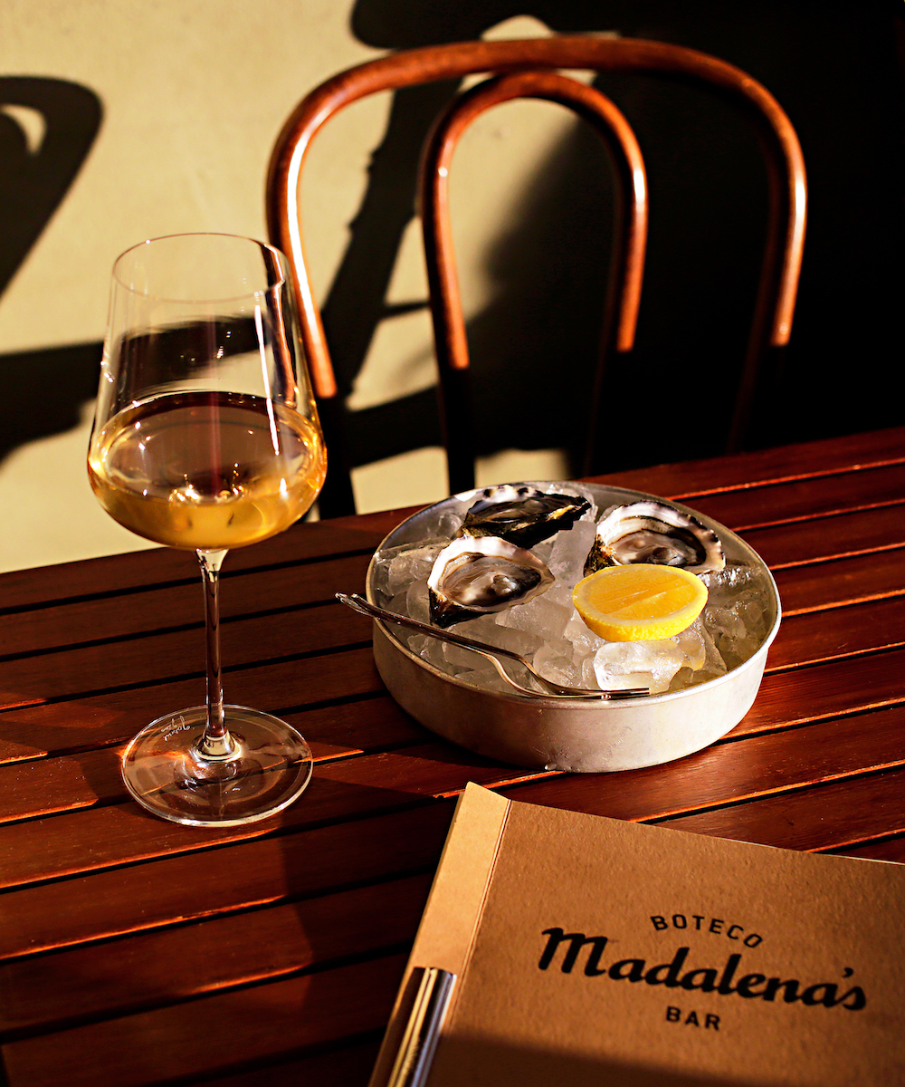 oysters and wine at Madalena's