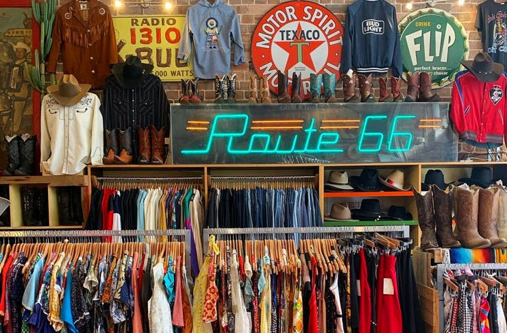 Racks of vintage clothes at Route 66 in Sydney.