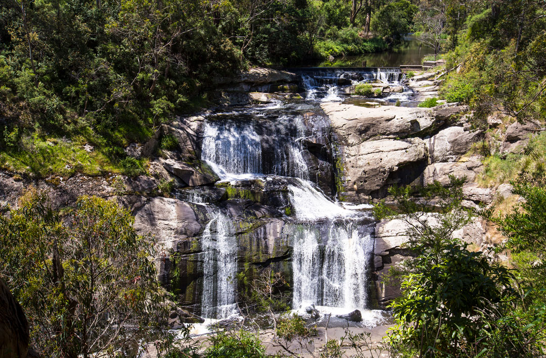 Water cascading over Agnes Falls near the tiny locale in South Gippsland, Victoria.