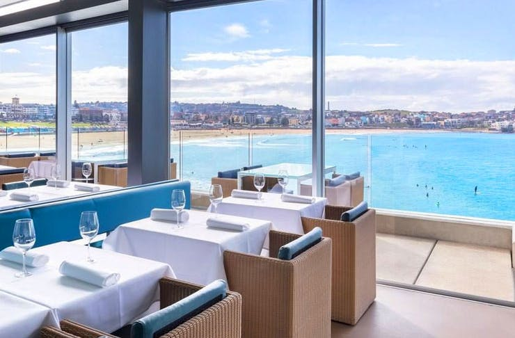The ocean views from the dining room at Icebergs.