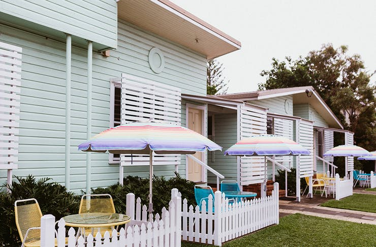 a pastel coloured motel