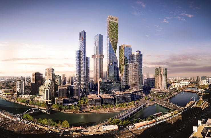 The Melbourne city skyline with a render of a green building in the middle.
