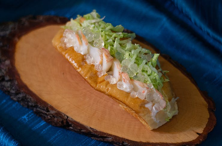 a close-up shot of a lobster dish