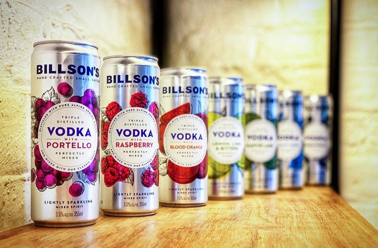 A row of flavoured drinks