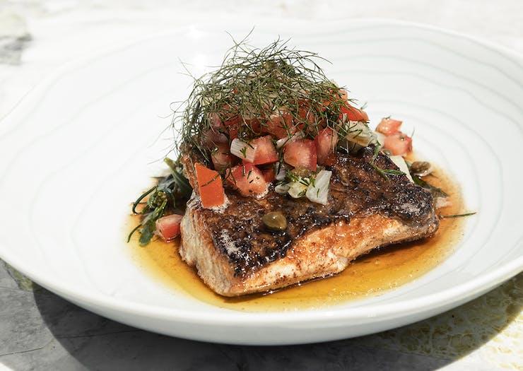 crispy fish dish at bisou bisou