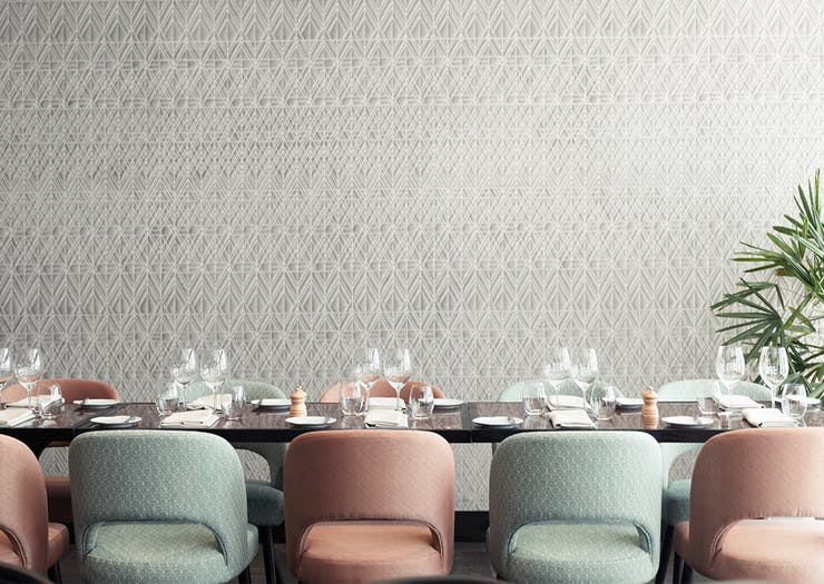pastel chairs and table at bisou bisou