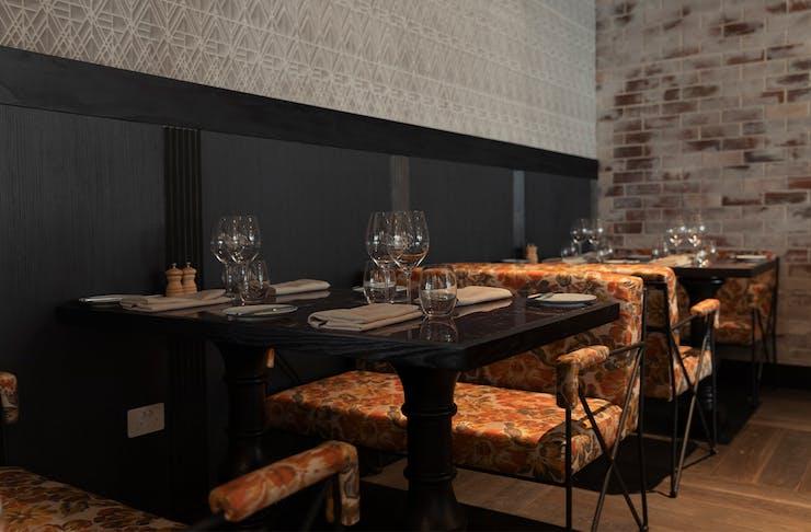 corner of dining area at bisou bisou