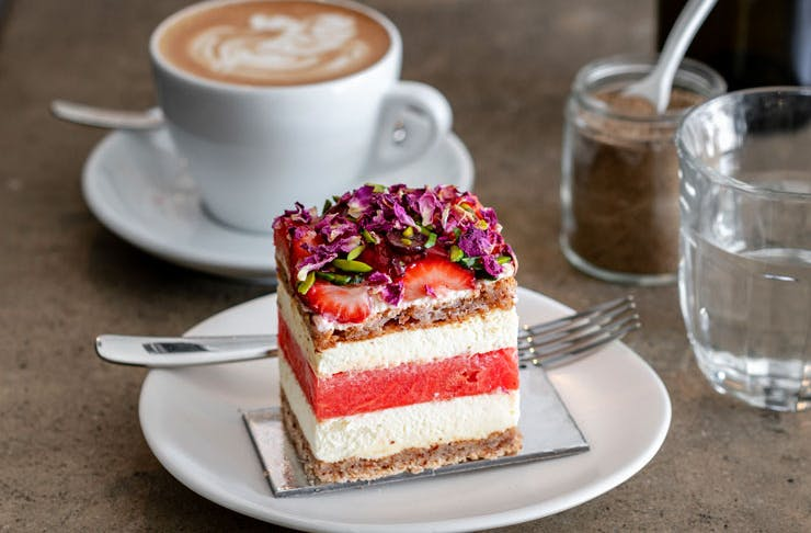 A slice of Black Star Pastry's iconic Strawberry Watermelon Cake.