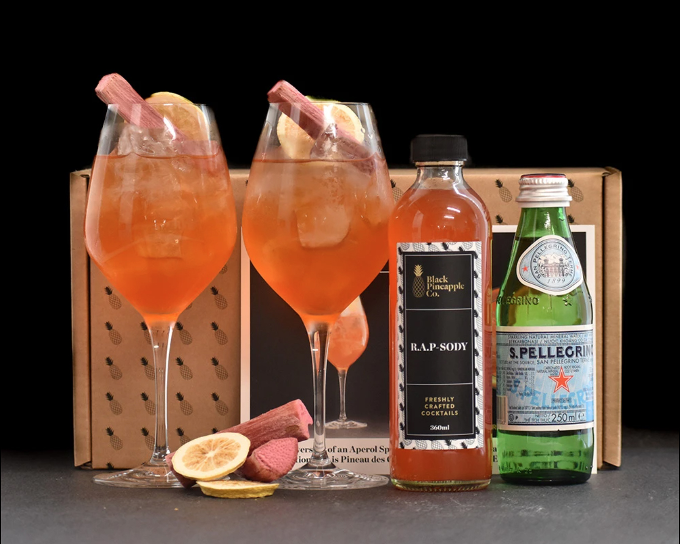 Cocktail kit featuring rhubarb and a special Black Pineapple cocktail mix