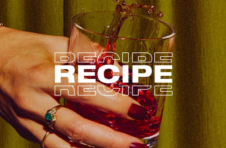 a hand holds a cocktail with the text recipe over the top.