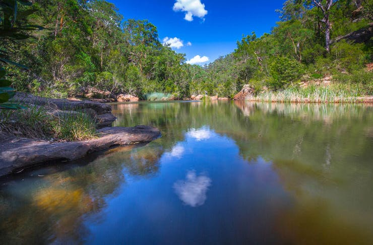 An image of the Blue Pool Bushwalking Track taken in the afternoon.