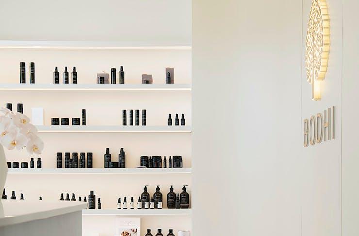a sleek product display shelf at Bodhi J Cottesloe