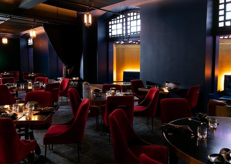 dim, moody interior of boom boom room izakaya's dining area