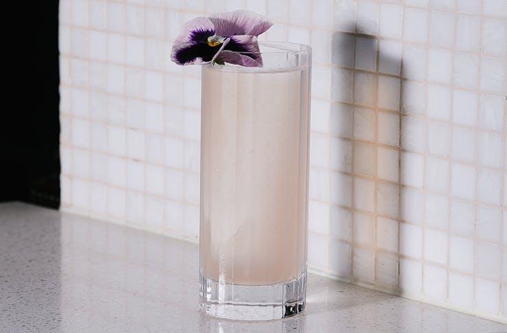 a pink highball cocktail