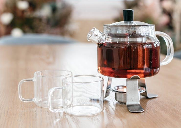 a glass pot of tea