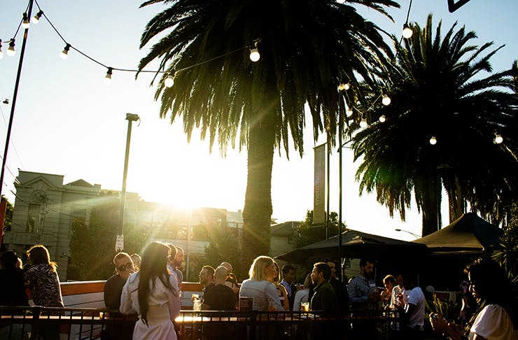 A beer garden surrounded by palm trees and fairy lights drenched in sunlight.