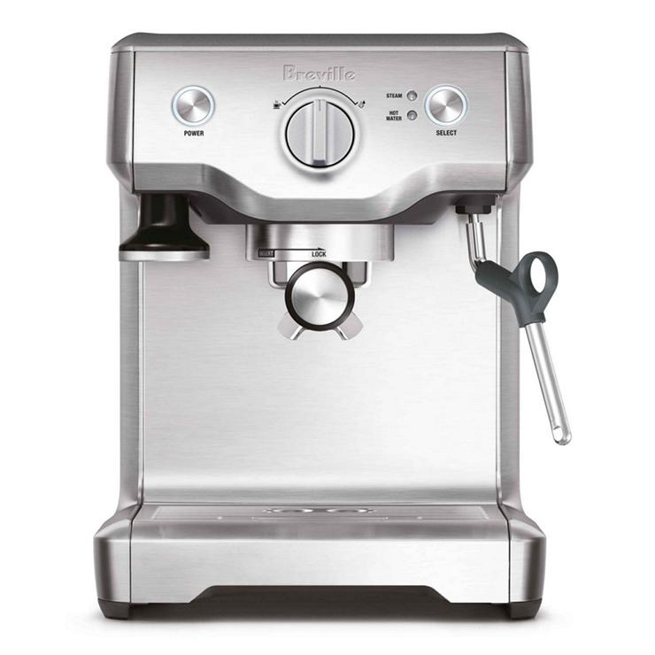 A silver Breville home coffee machine.