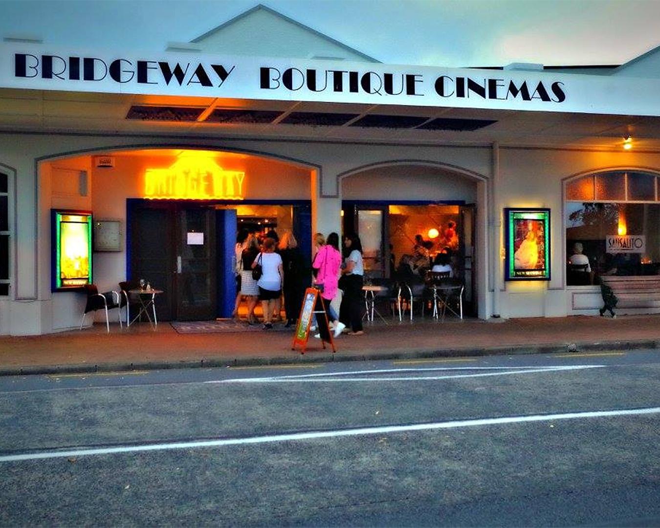 The outside of the Bridgeway boutique cinema.