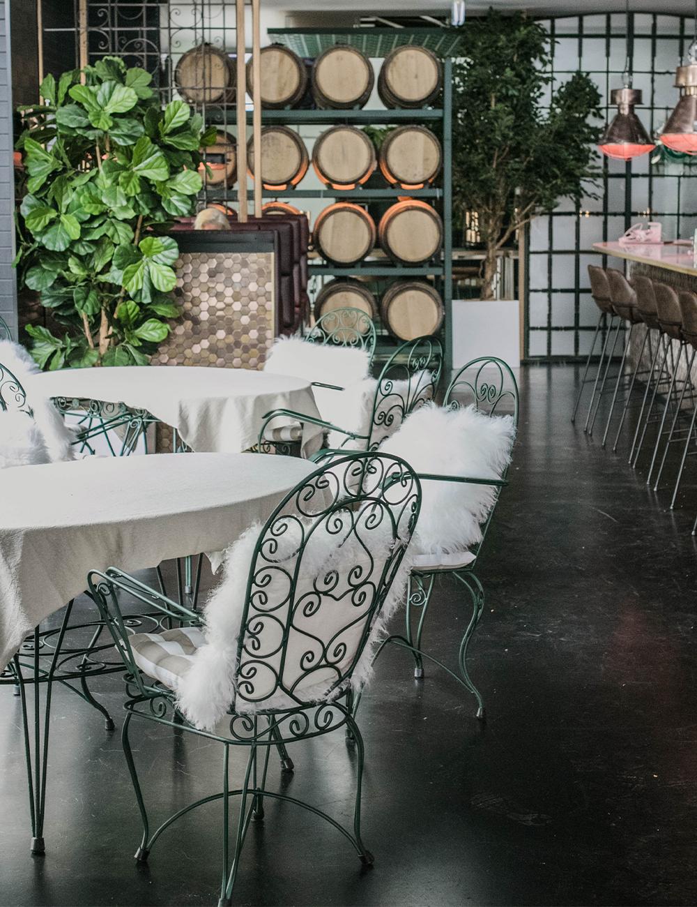 Tables inside the bar