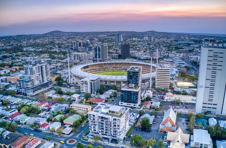 the gabba and city around it, seen from the air