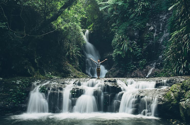 A waterfall in the rainforest at Lamington National Park