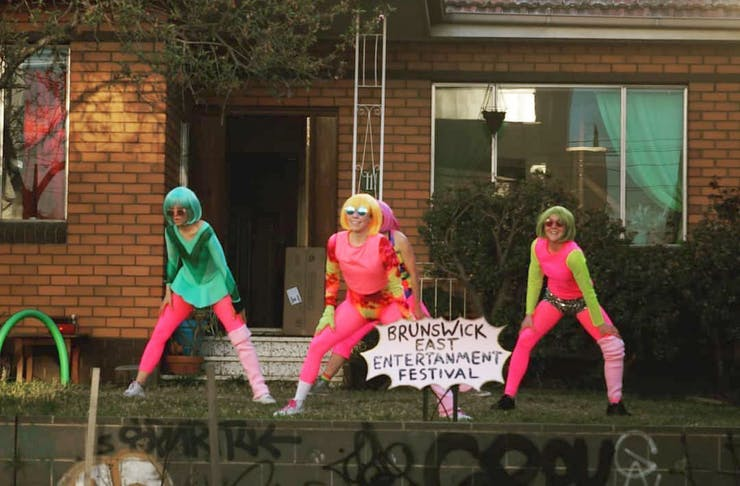 The team behind the Brunswick East Entertainment Festival on their front lawn in costume.
