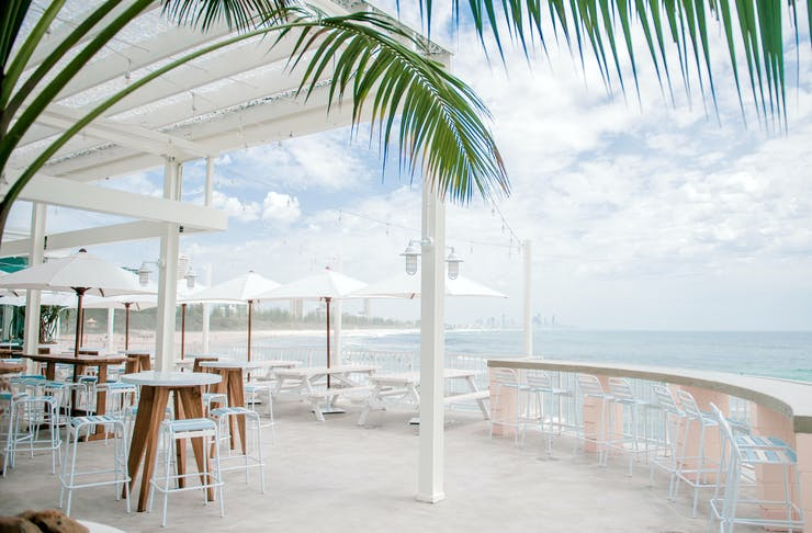 A beautiful beachfront bar overlooking the water at Burleigh Heads on the Gold Coast.