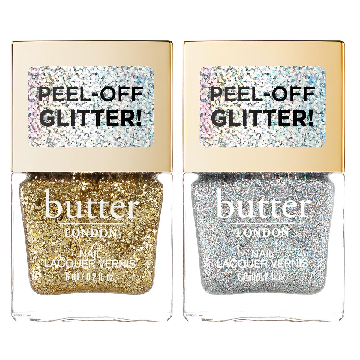 Two bottles of glitter nail polish