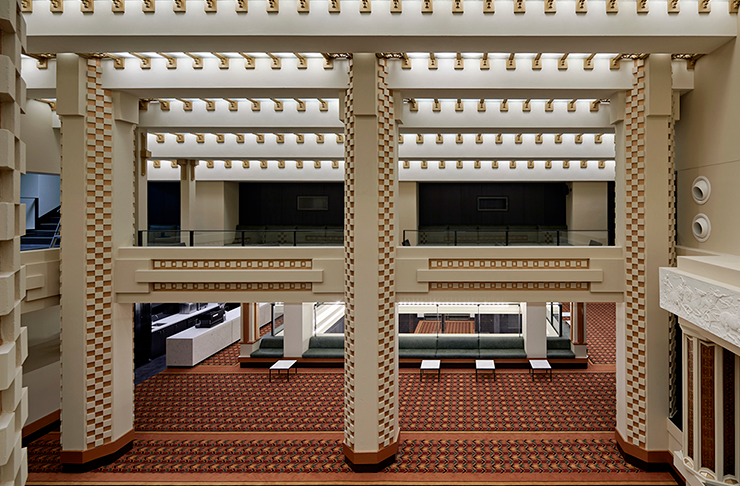 The foyer and intricate glass roof of the Capitol Theatre in Melbourne.