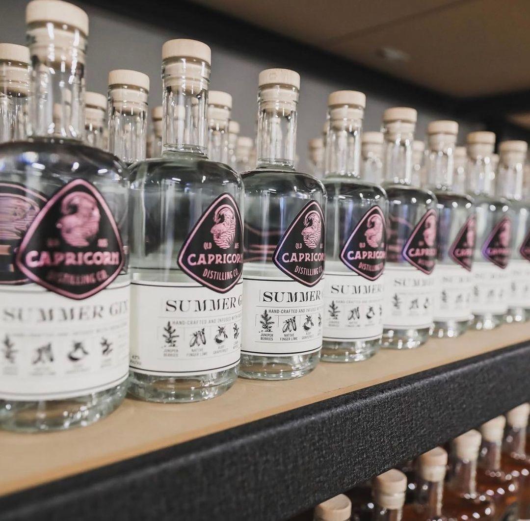 a row of spirit bottles