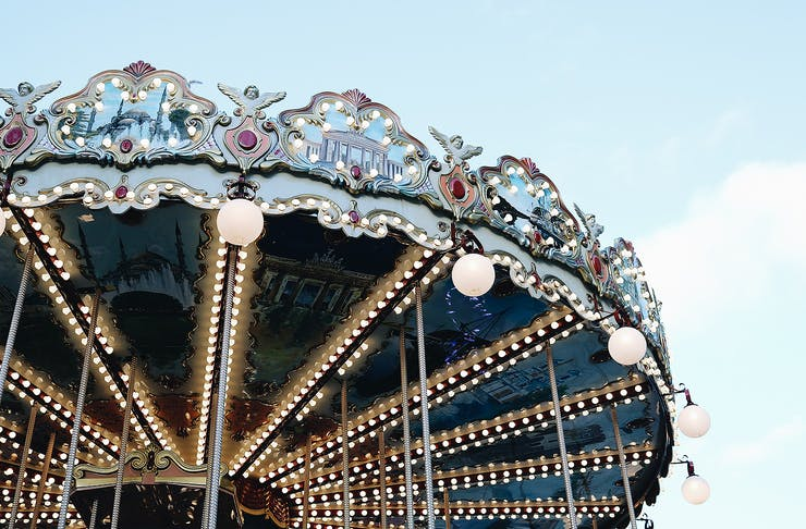 The top of a traditional carnival ride.