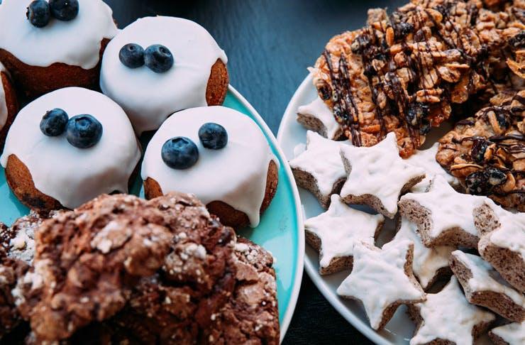 Christmas themed baked goods