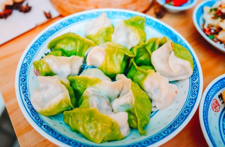 A plate of dumplings.