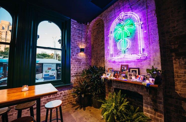 The interior of Redfern Surf Club pub in Redfern.