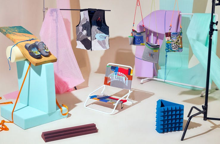 An image featuring each of the one-off, up-cycled items created by Nicole Mclaughlin for Chinatown Market and Allbirds.