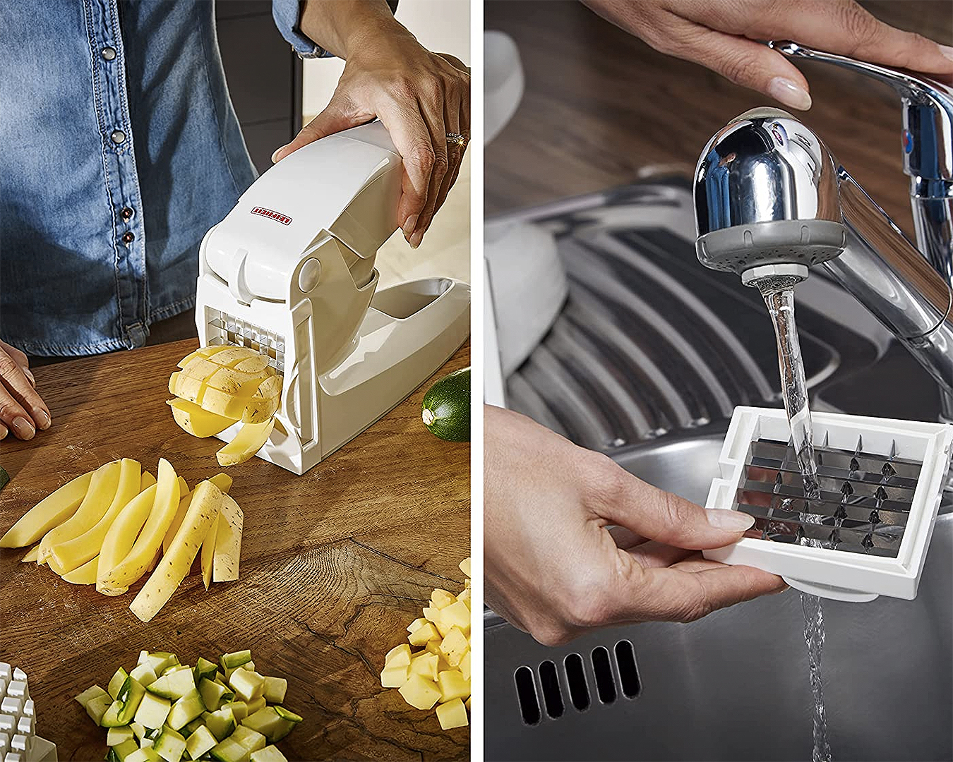 A potato chipper being rinsed under the tap.