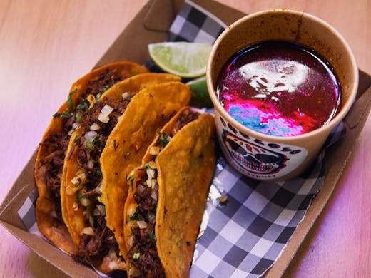 A serve of the birria tacos from Chololo.