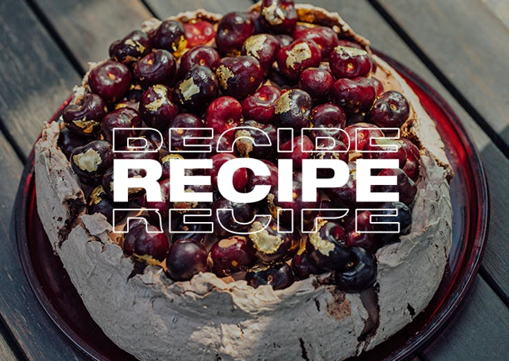 Bring This XL Chocolate Cherry Ripe Christmas Pavlova To The Table On The Big Day