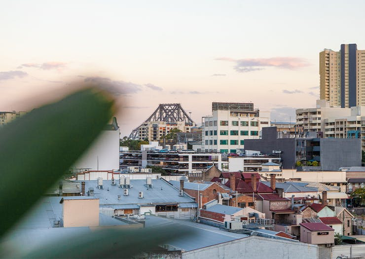 view from the roof towards the story bridge