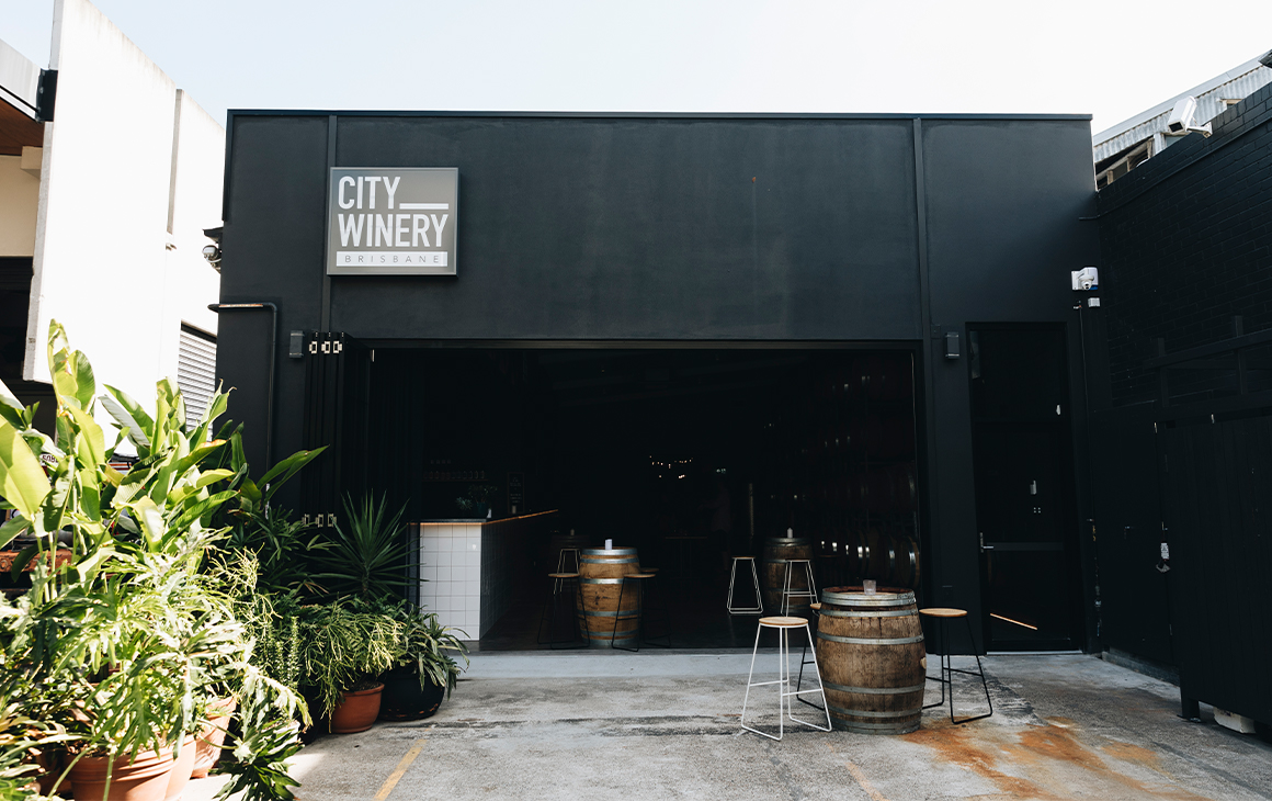 the black facade of a winery