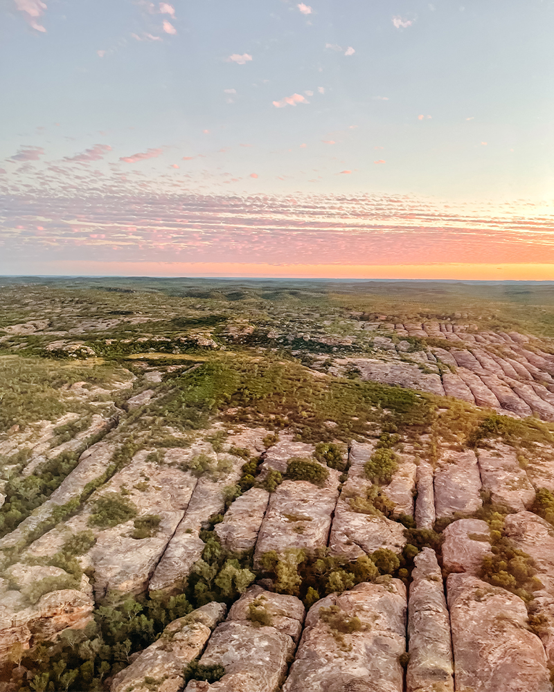 Sky view of the sandstone formations at Cobbold Gorge