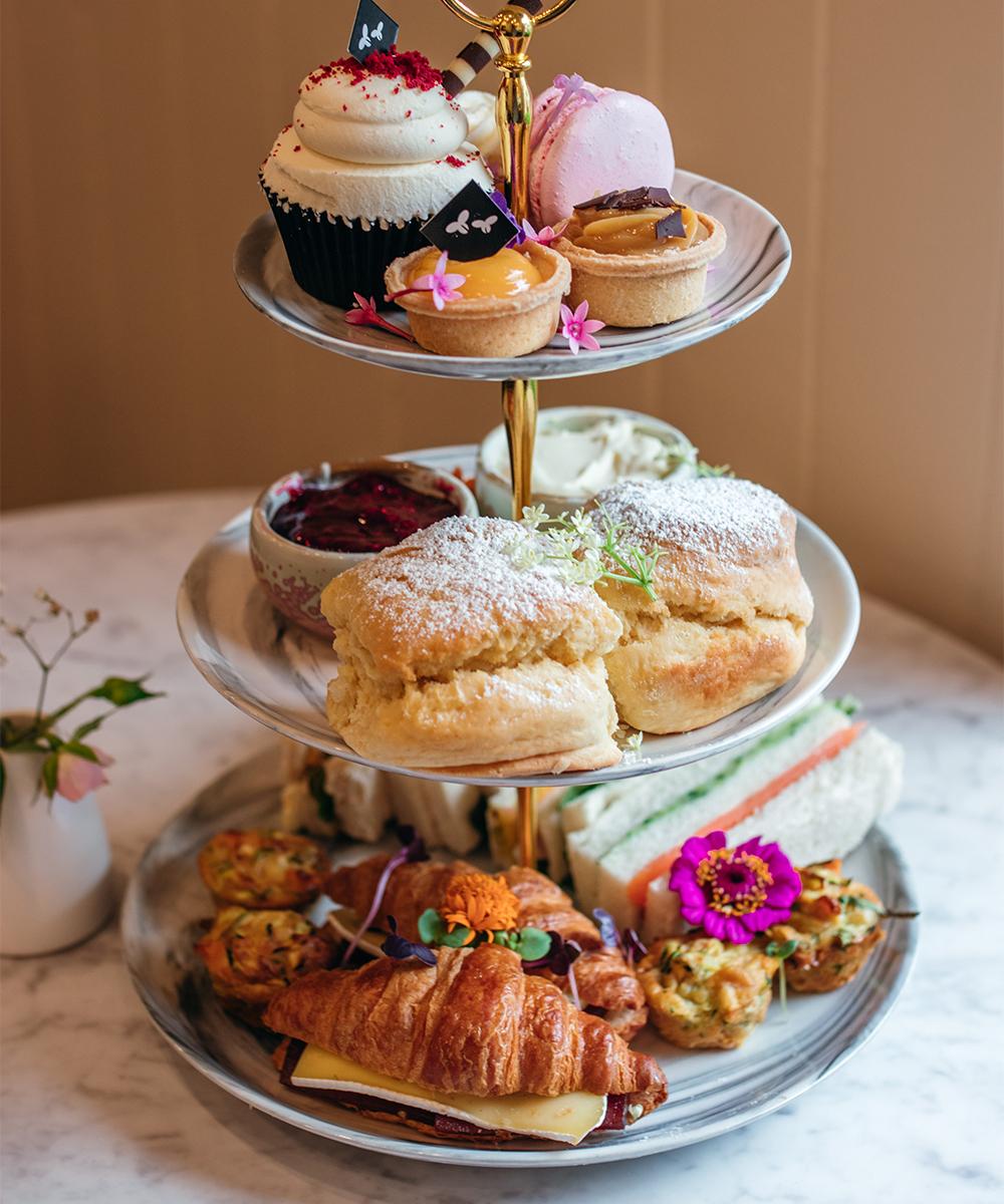 a three tiered high tea tray