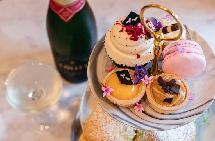 a high tea and a champagne