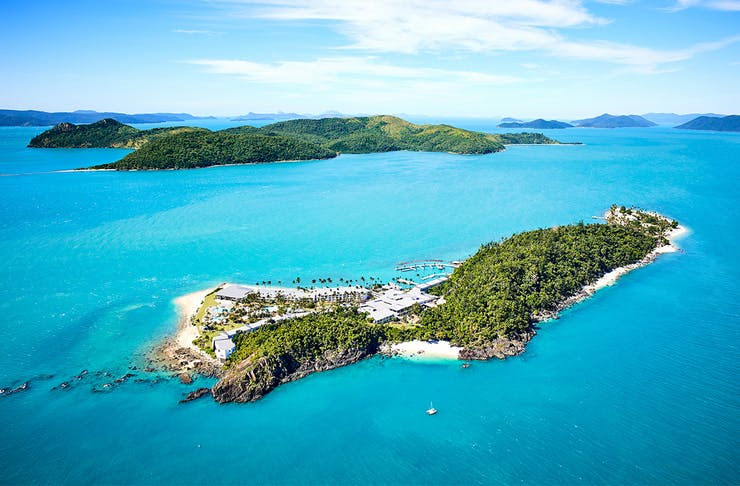 An aerial image of Daydream Island in the Whitsundays.