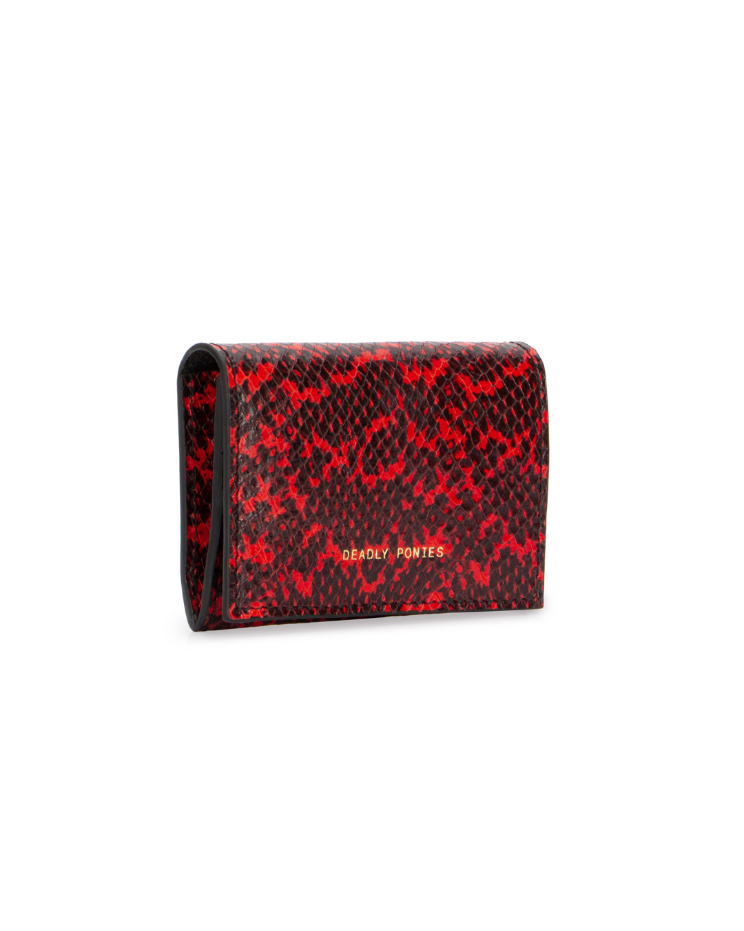 A black and red snakeskin-style wallet from Deadly Ponies