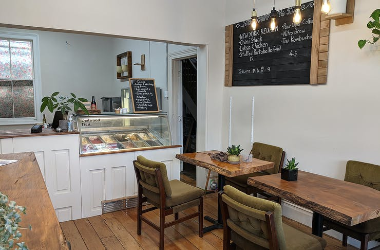 Another angle of The rustic interior at Ponsonby Road's Dedwood Deli