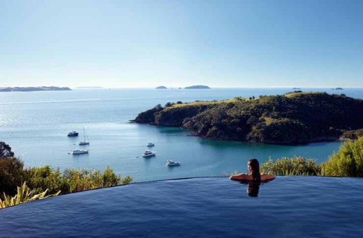 The breathtaking ocean view from the infinity pool at the Delamore Lodge on Waiheke Island.