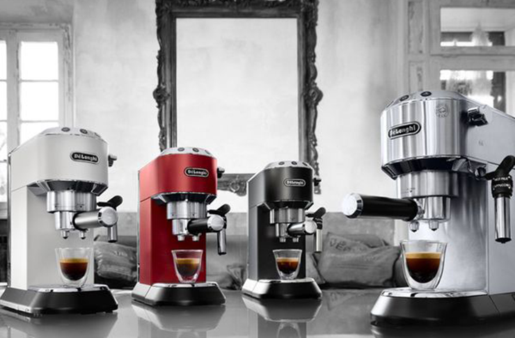 Three  of the best coffee machines in a kitchen.