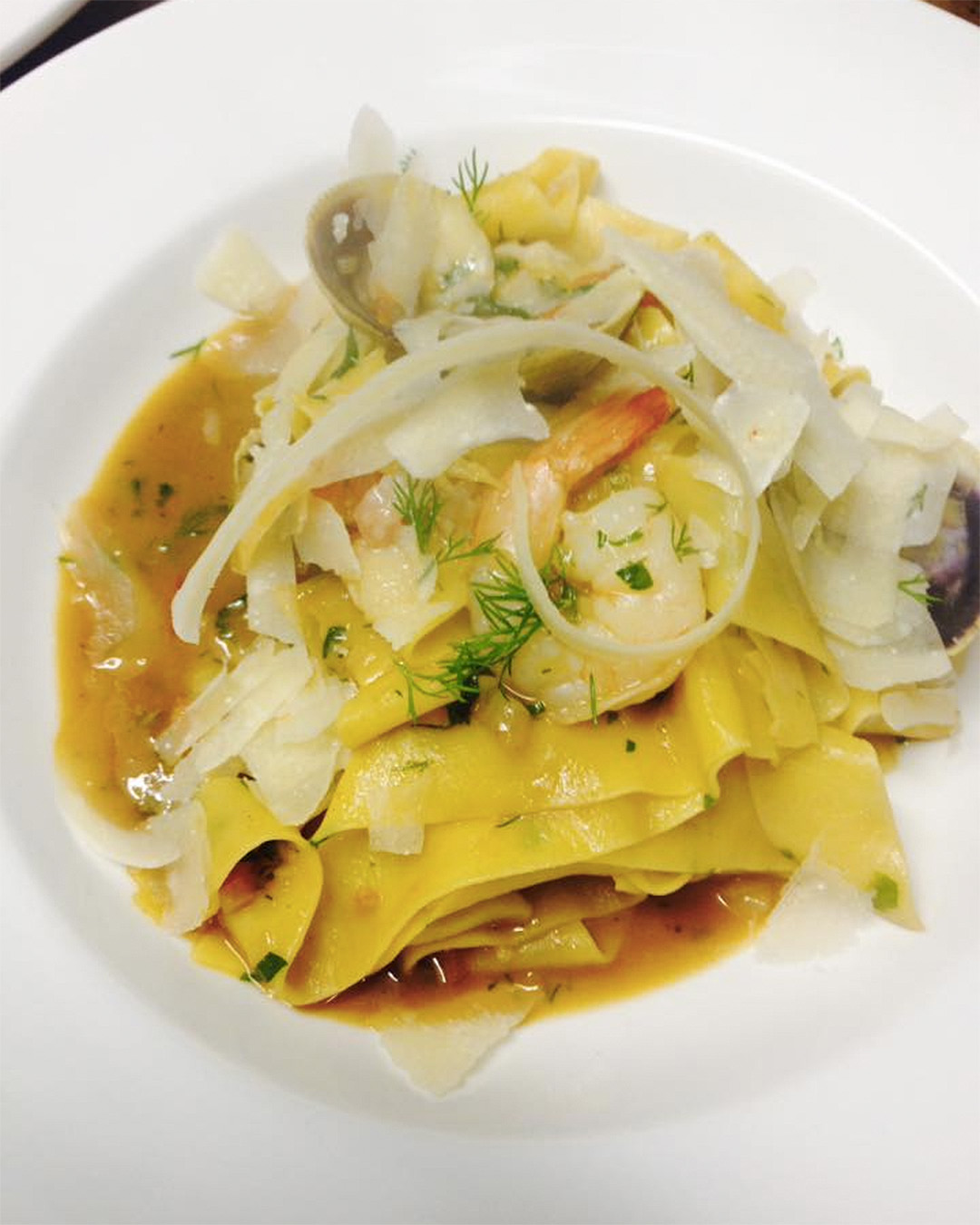 Clam and prawn pappardelle, crayfish sauce and shaved parmesan at DeVille cafe.